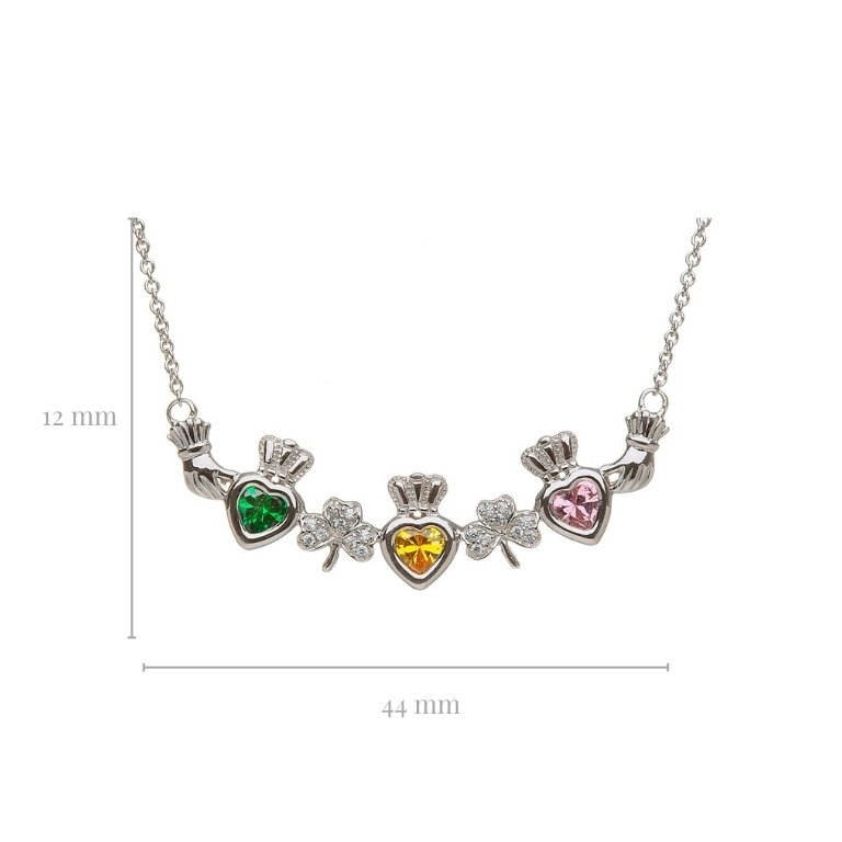 3 stone shamrock mothers pendant