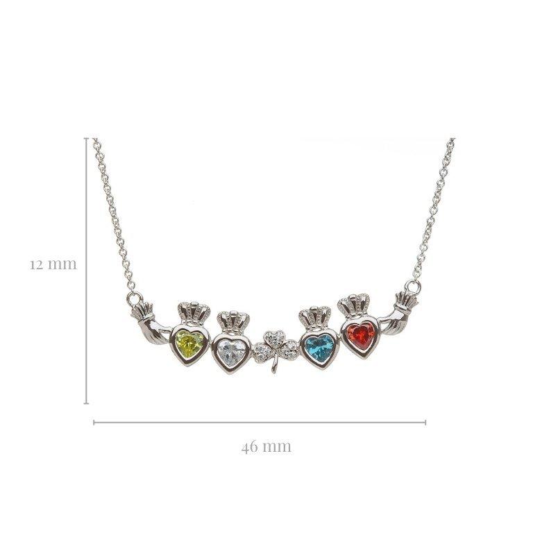 4 stone shamrock mothers pendant with measurement