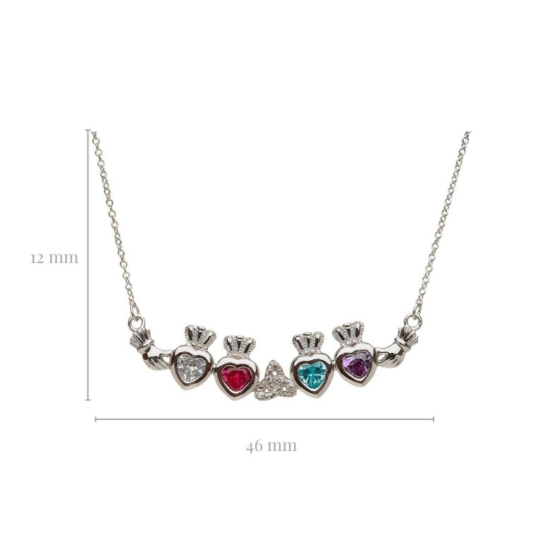 4 stone trinity knot mothers pendant with measurement