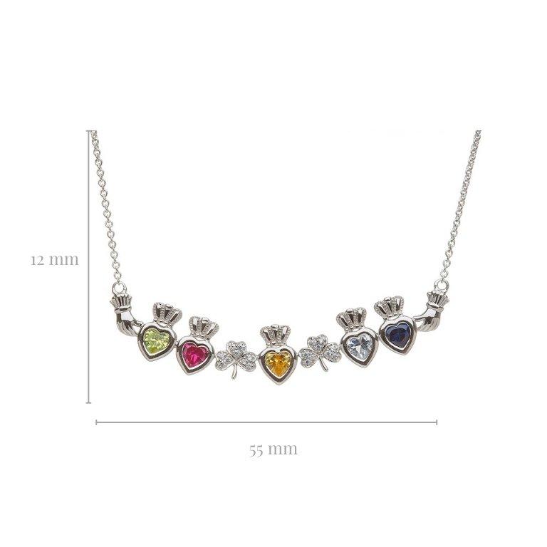5 stone shamrock mothers pendant with measurement