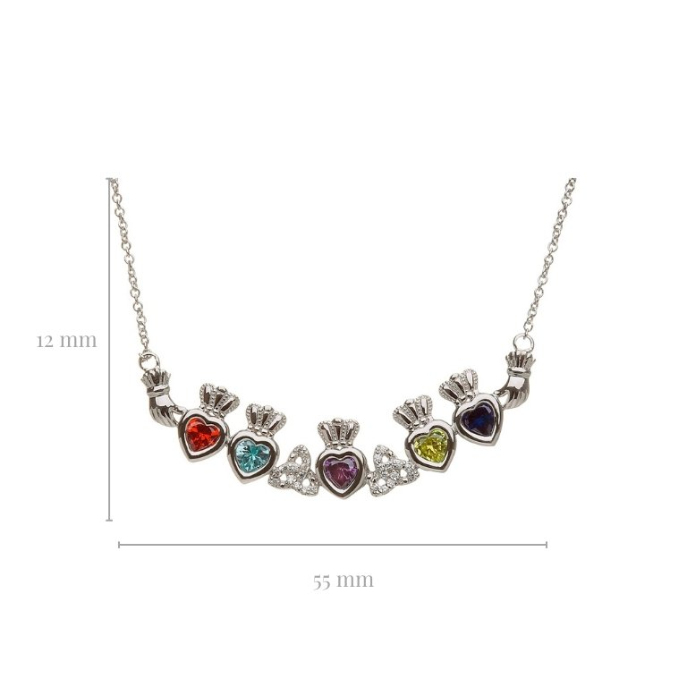 5 stone trinity knot mothers pendant with measurement