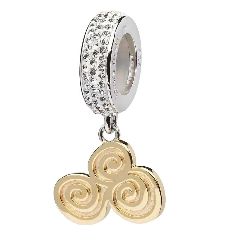 Celtic Dangle Gold Plate Bead Encrusted With Crystal
