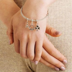 Celtic Diamond Set Claddagh Dangle Bead