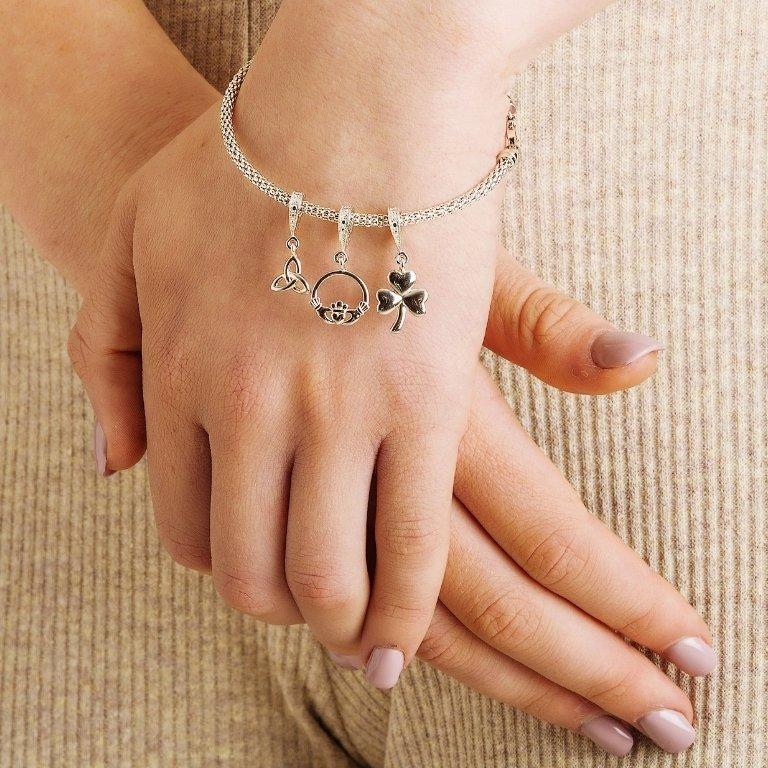 Celtic Diamond Set Shamrock Dangle Bead