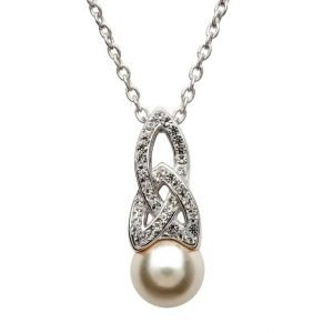 Celtic Pearl Necklace Adorned By Crystals