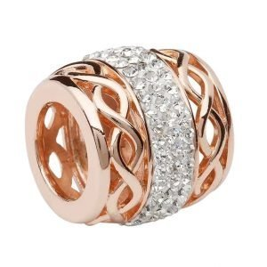 Celtic Rose Gold Plated Bead Encrusted With Crystal
