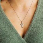 Celtic Stone Set Trinity Knot Silver Cross - Gallery Thumbnail Image
