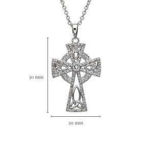 Trinity Knot Sterling Silver Celtic Cross Embellished With Crystals Measurement