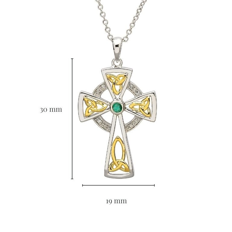 Trinity Knot Diamond & Emerald Silver Celtic Cross Pendant Measurement