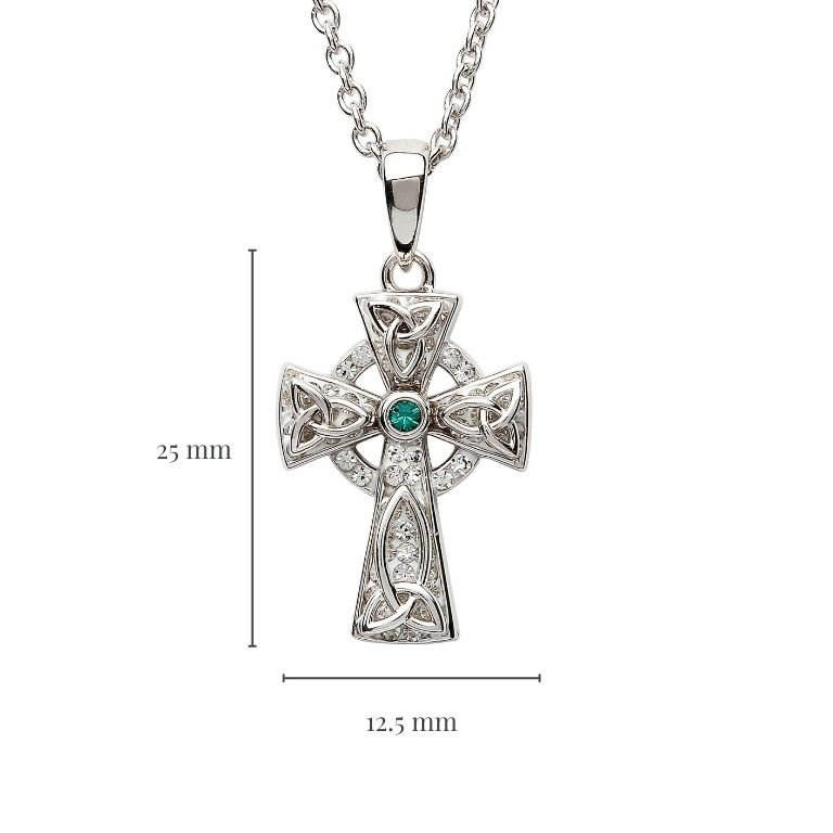 Celtic Trinity Knot Cross Adorned With Crystals with Measurement