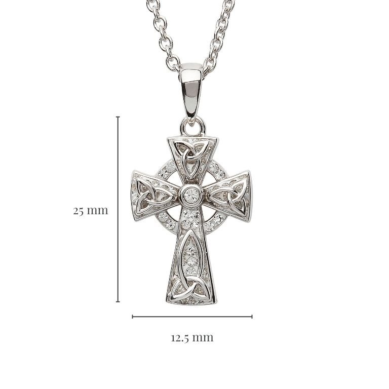 Celtic Trinity Knot Cross Embellished with Crystals with Measurement