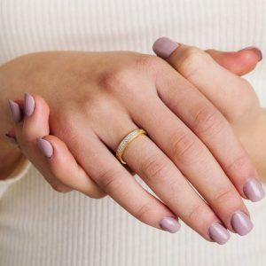 Celtic Trinity Knot Diamond Set 14K Yellow Gold Wedding Ring