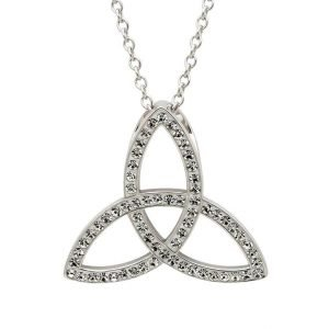 Celtic Trinity Knot Necklace Embellished With Crystals