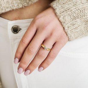 Celtic diamond ring 14k yellow and white gold princess cut