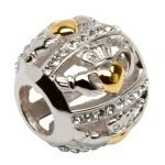 Claddagh Bead Embellished With Crystals - Gallery Thumbnail Image