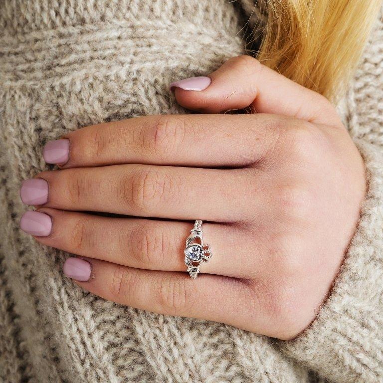 Claddagh Birthstone Ring April
