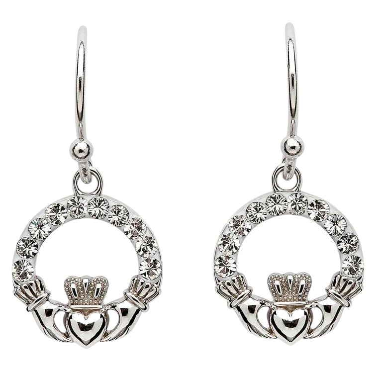 Claddagh Earrings Adorned With Crystals