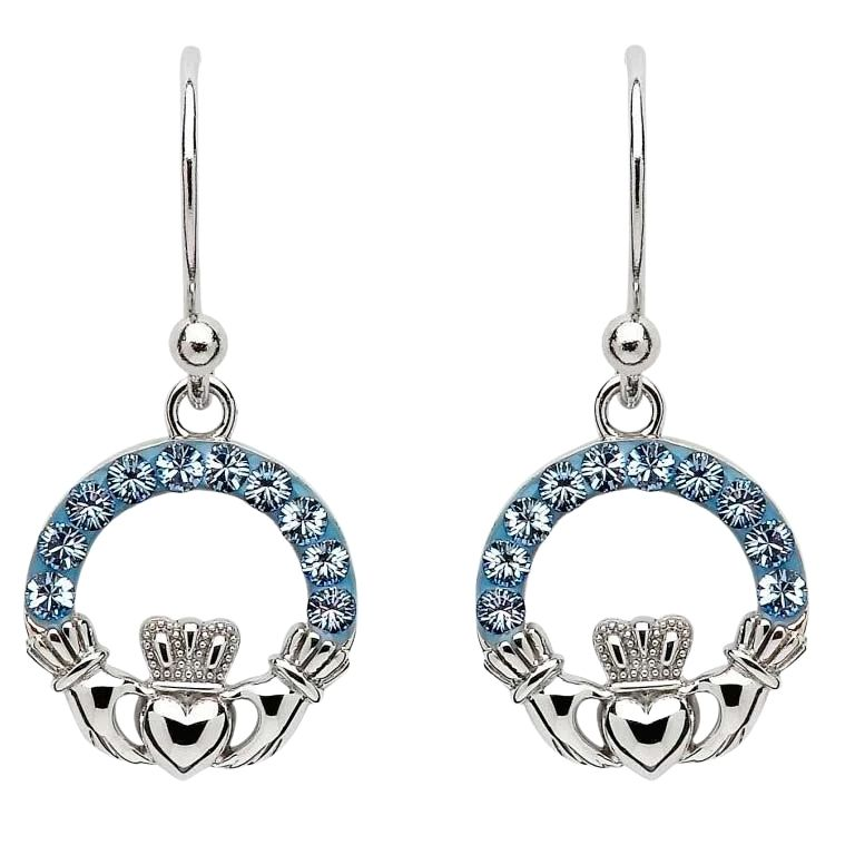 Claddagh Earrings Embellished With Crystals