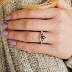 Claddagh February Birthstone Ring
