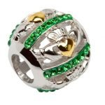 Claddagh Gold Plated Bead Embellished With Crystals - Gallery Thumbnail Image