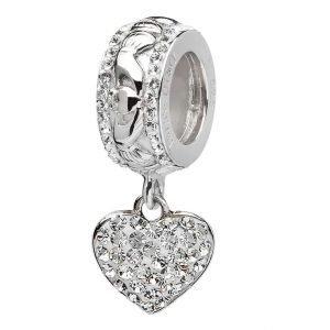 Claddagh Heart Bead Adorned With Crystal