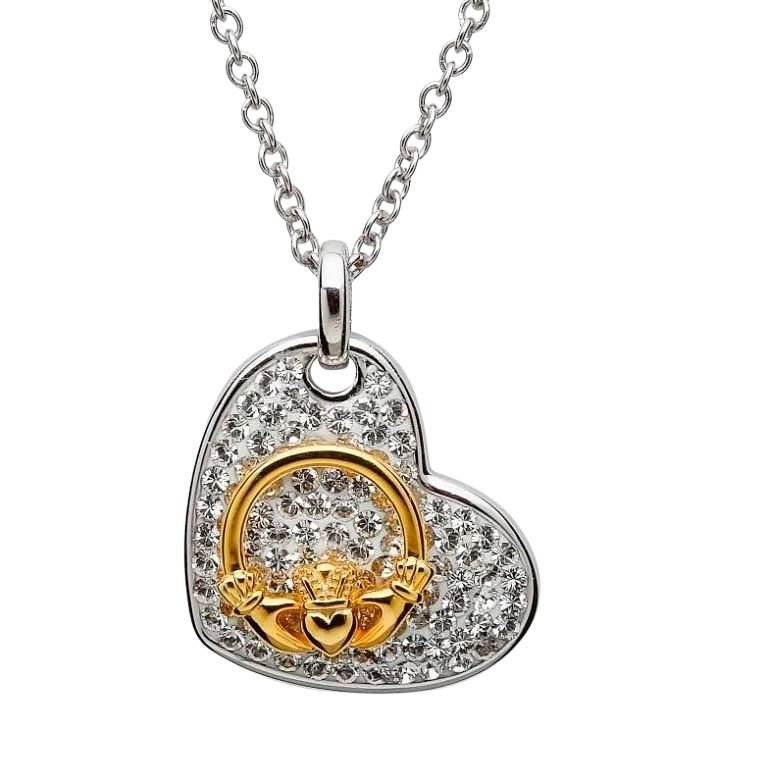 Claddagh Heart Necklace Encrusted With Crystals