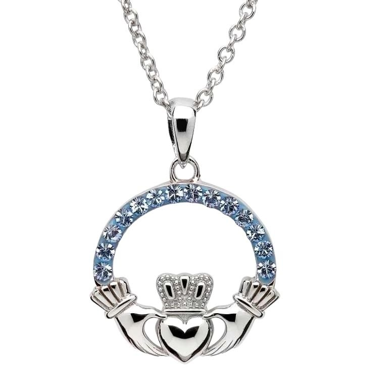 Claddagh Necklace Embellished With Crystals