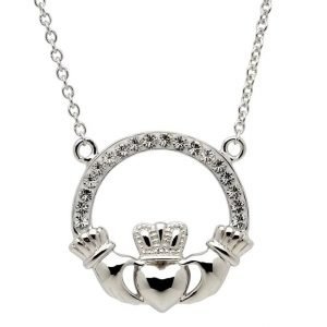 Claddagh Necklace Encrusted With Crystals