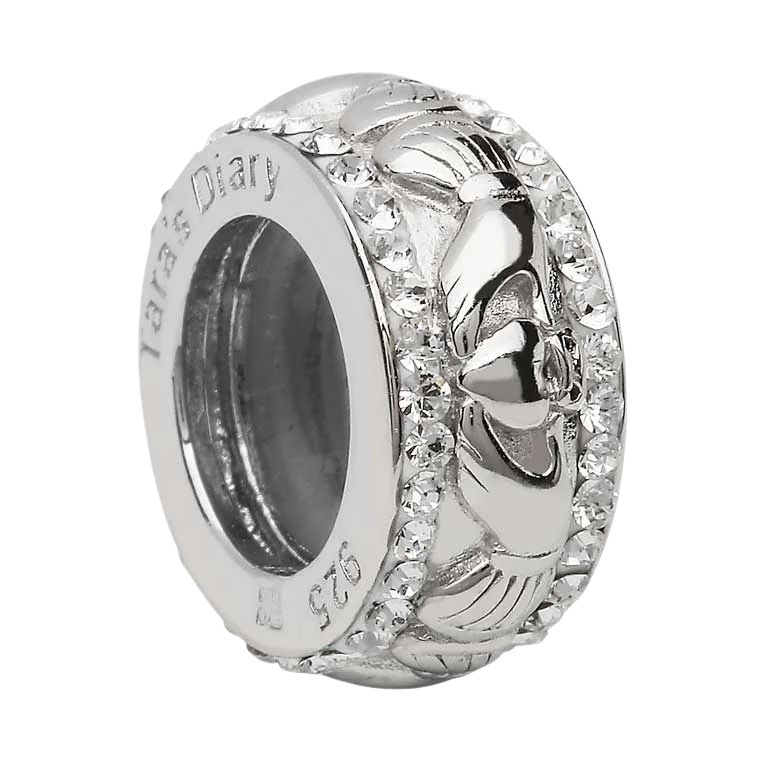 Claddagh Round Bead Encrusted With Crystal