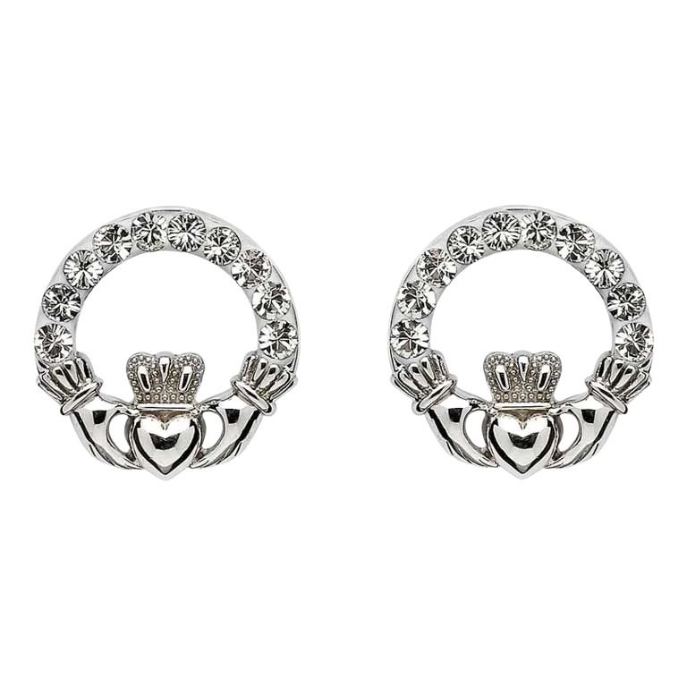 Claddagh Stud Earrings Adorned With Crystals