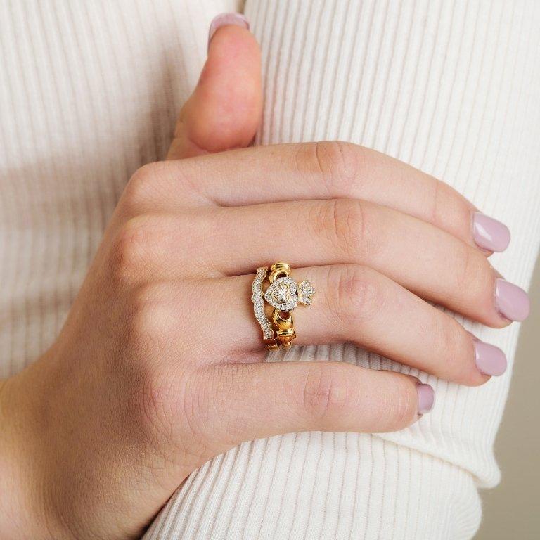 Diamond set 14K Matching Wedding ring for (14L68)