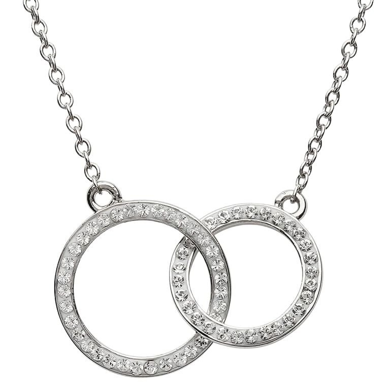 Double Circle Silver Pendant Encrusted With White Crystal St9