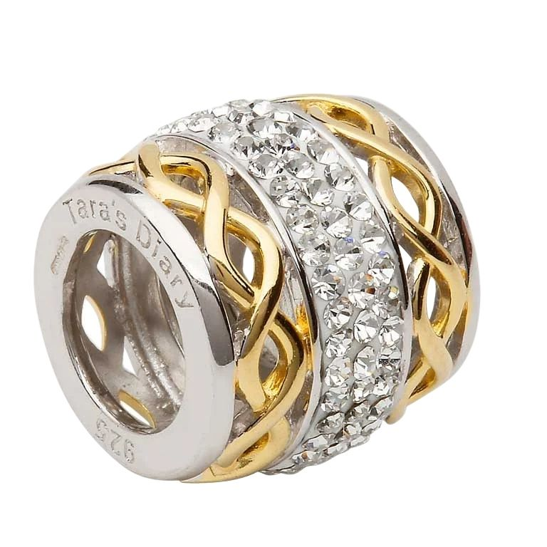 Double Gold Plated Knot Bead Encrusted With Crystal