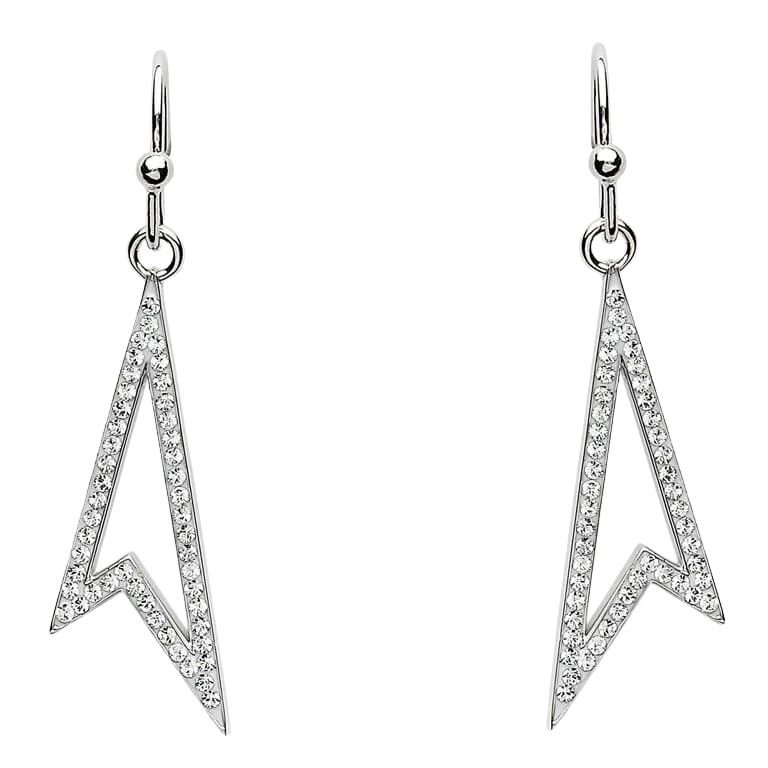 Drop Silver Earrings Adorned With Swarovski Crystal