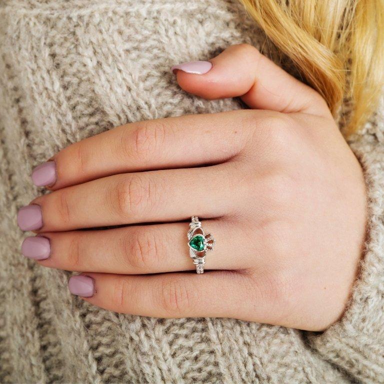 Gold 14K Claddagh May Birthstone Ring