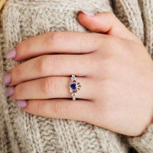 Gold 14K Claddagh September Birthstone Ring