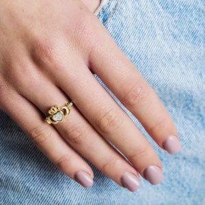 Gold Claddagh April Birthstone Ring