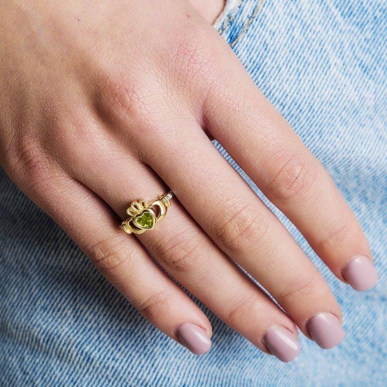 Gold Claddagh August Birthstone Ring