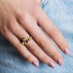 Gold Claddagh February Birthstone Ring
