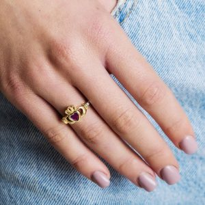 Gold Claddagh January Birthstone Ring