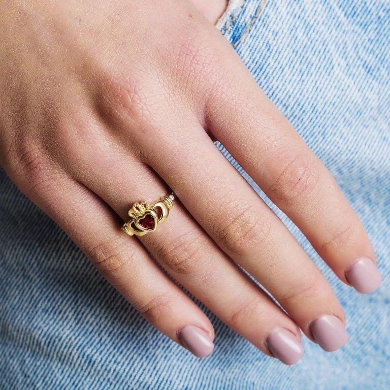 Gold Claddagh July Birthstone Ring