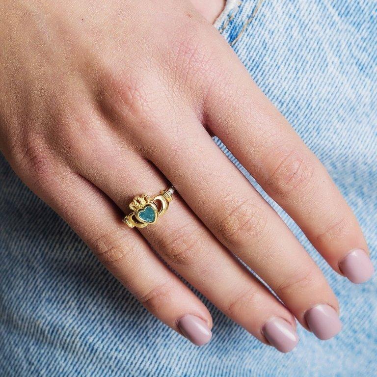 Gold Claddagh March Birthstone Ring