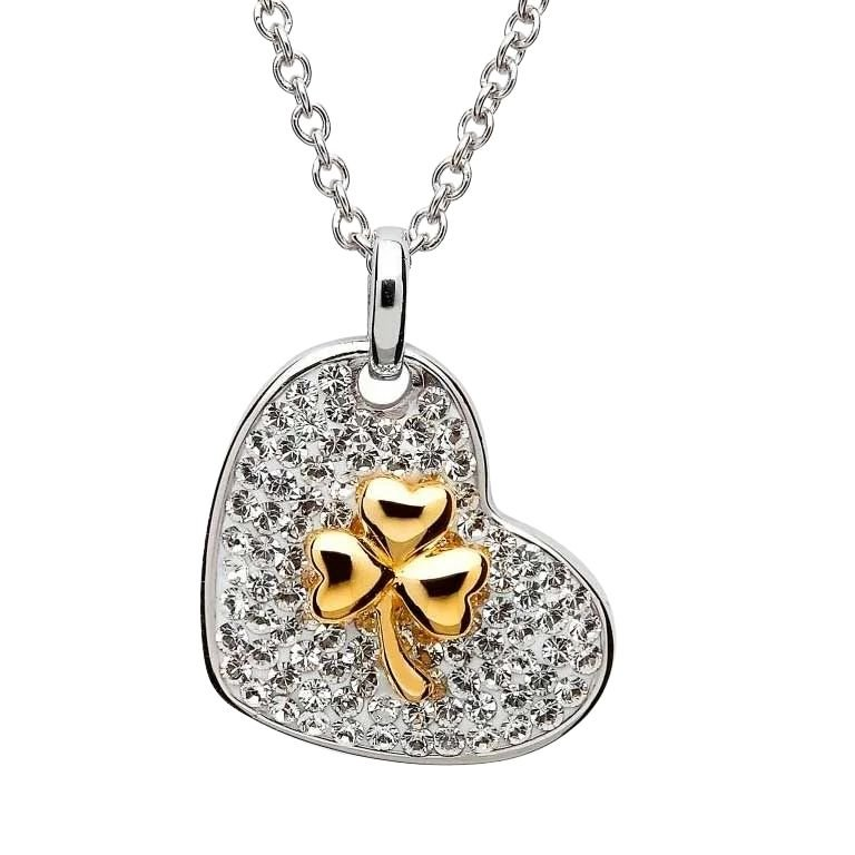 Gold Plated Shamrock Necklace Encrusted With Crystals