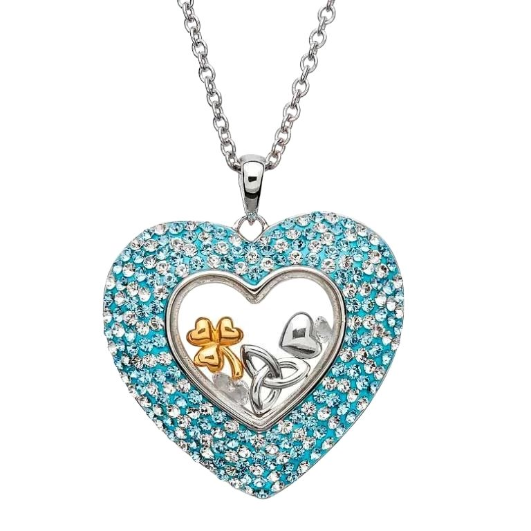 Heart Necklace Encrusted With Crystals