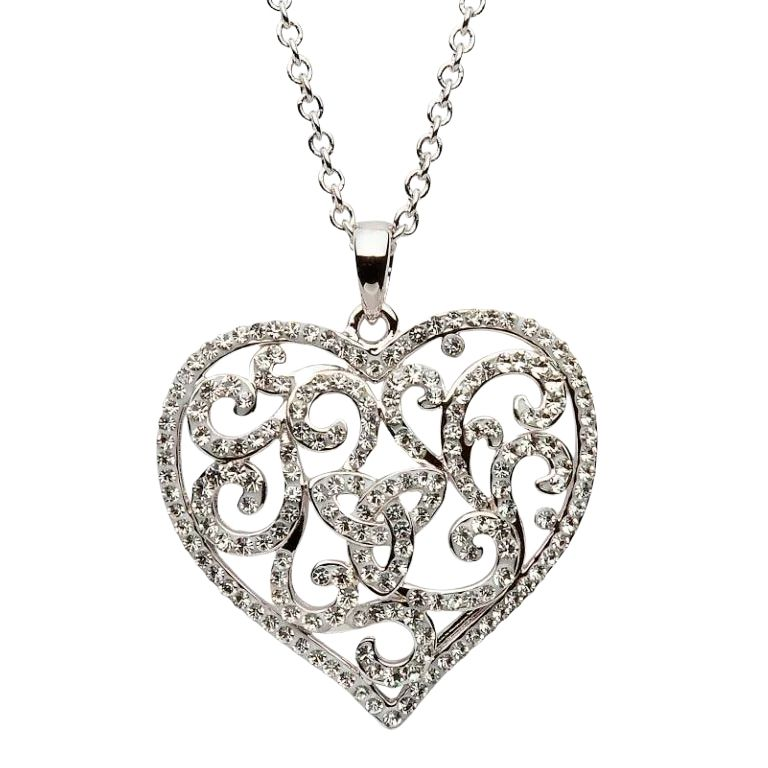 Heart Trinity Necklace Encrusted With White Crystals