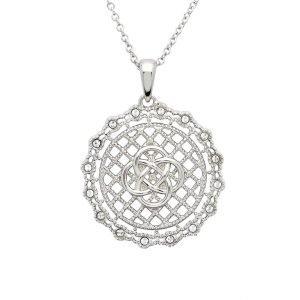 Irish Lace Celtic Knot Silver Pendant Necklace