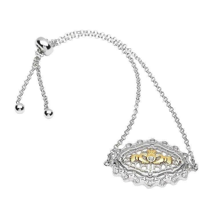Irish Lace Gold Plated Claddagh Silver Bracelet
