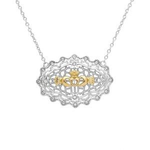 Irish Lace Gold Plated Claddagh Silver Necklace
