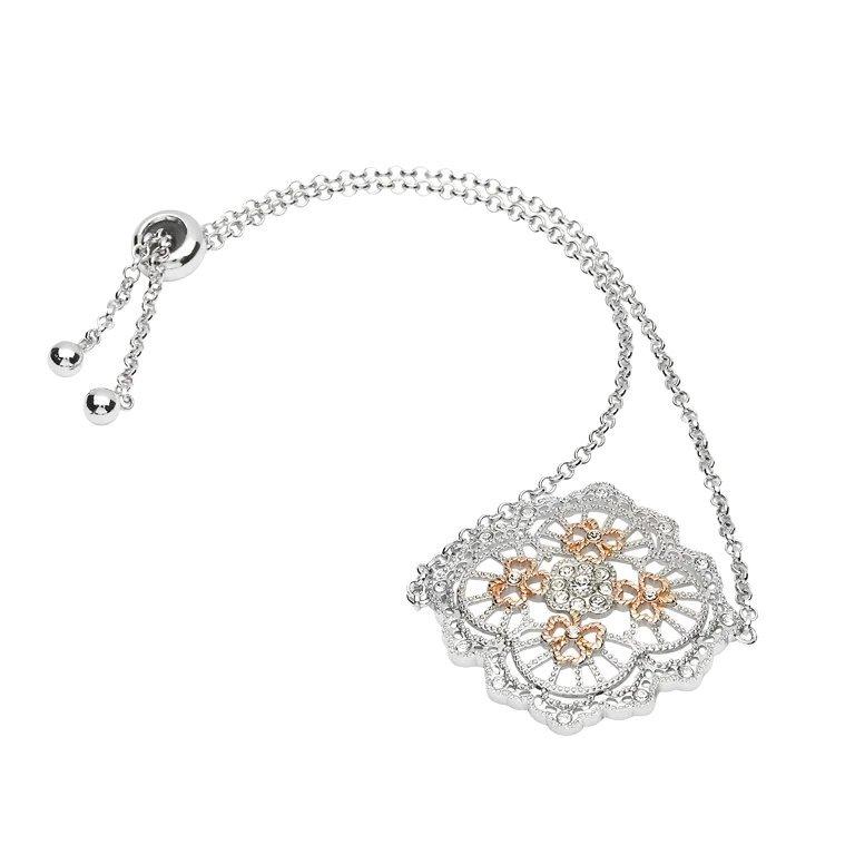 Irish Lace Rose Gold Shamrock Silver Bracelet