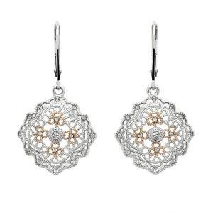 Irish Lace Rose Gold Silver Shamrock Drop Earrings Sw176